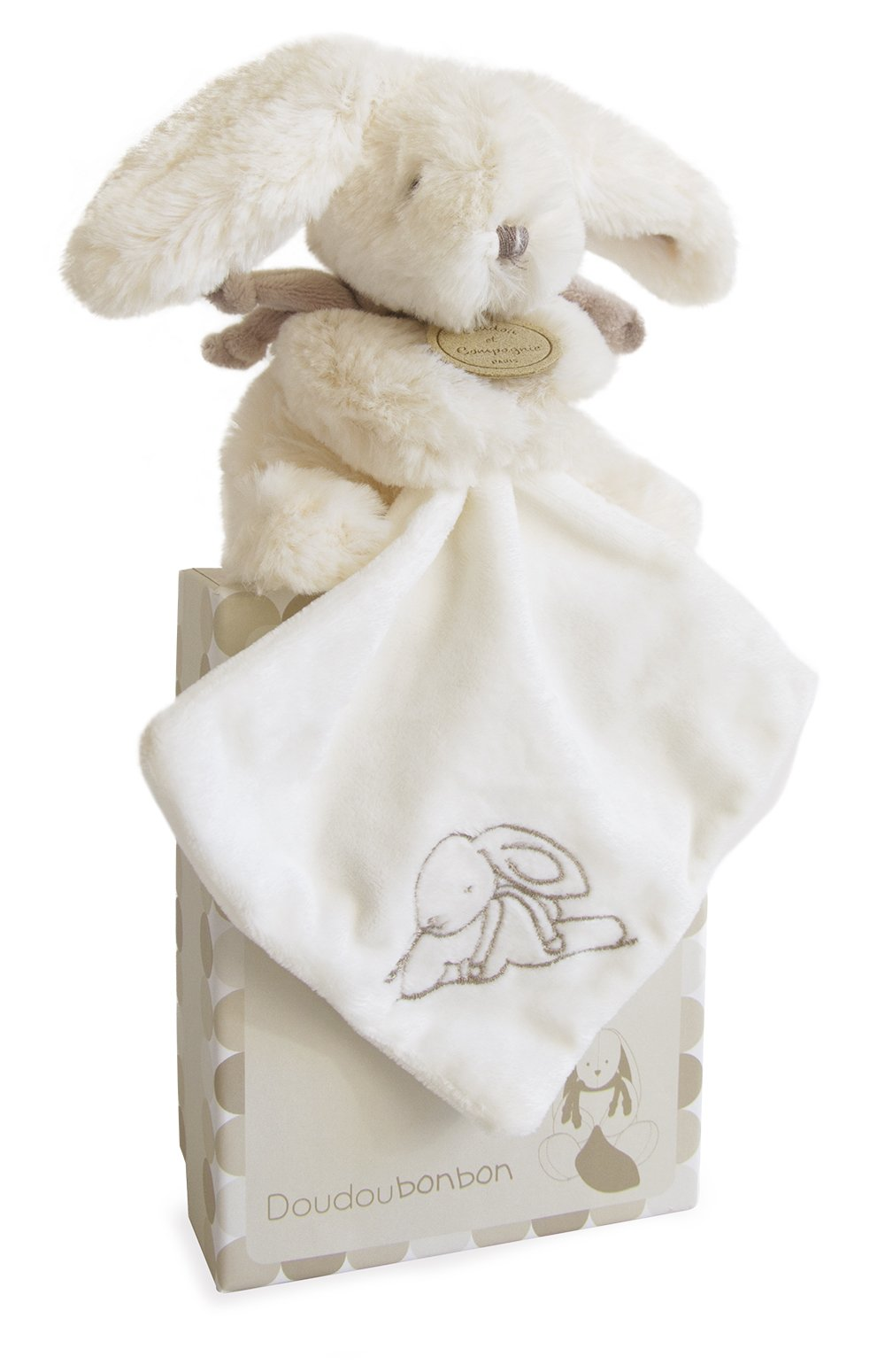 DOUDOU ET COMPAGNIE - White & Taupe Small Soft Bunny with Blankie