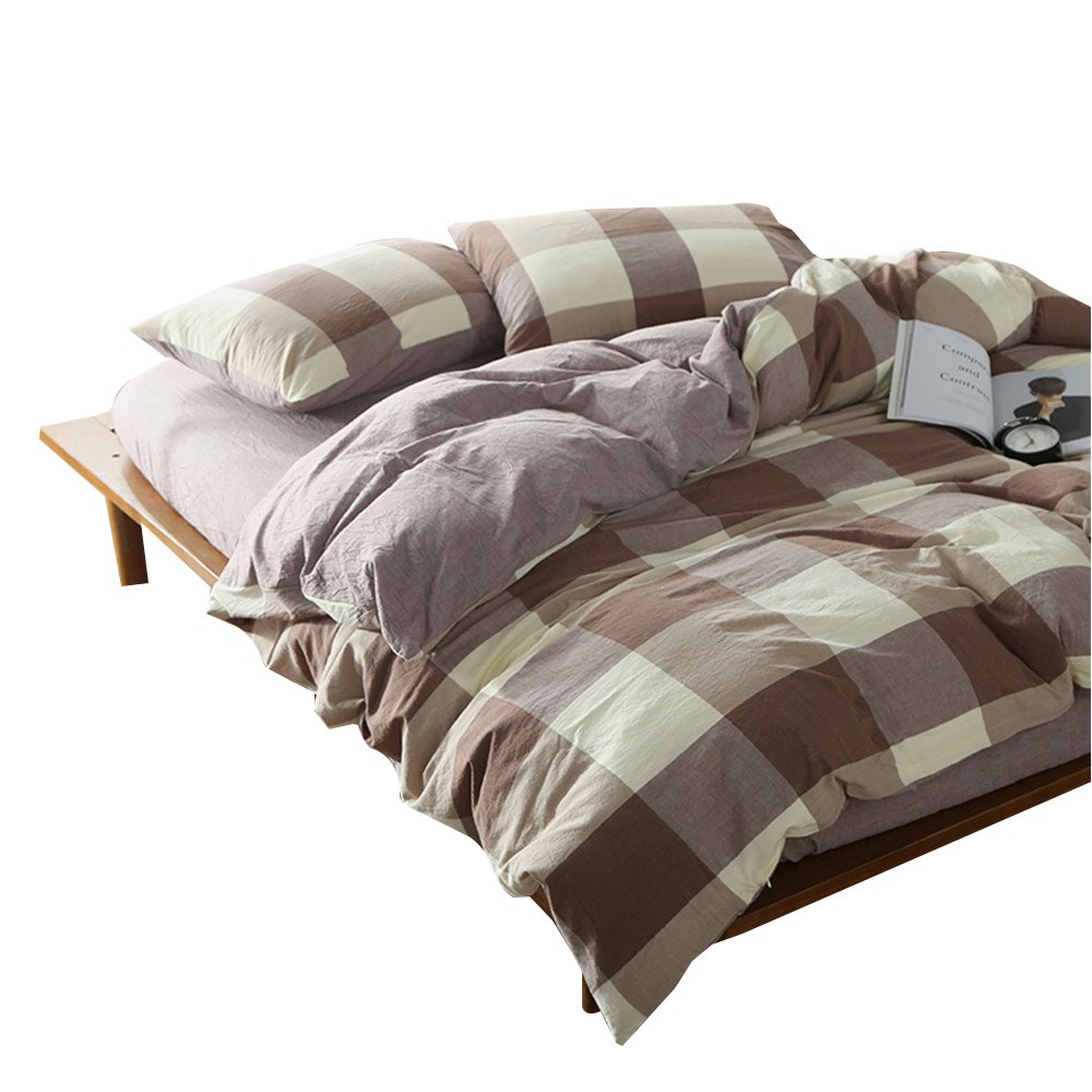 OTOB Lightweight Coffee Grey White Gingham Plaid Geometric Duvet Cover Twin Cotton with 2 Pillowcases and Zipper Closure for Teens Girls Boys Adults, Children Grid Checkered Bedding Sets Collections