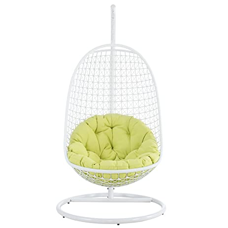 Modway Encounter Outdoor Patio Swing With Stand   White Frame, Green Cushion