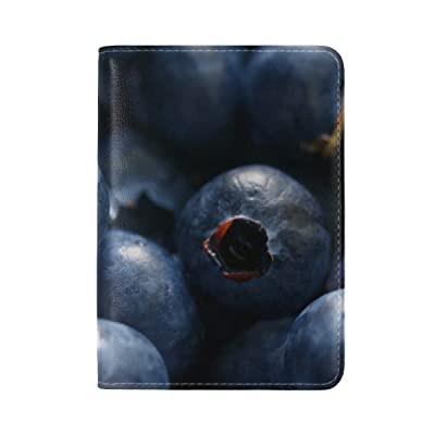 Blueberries Berries Close Leather Passport Holder Cover Case Travel One Pocket