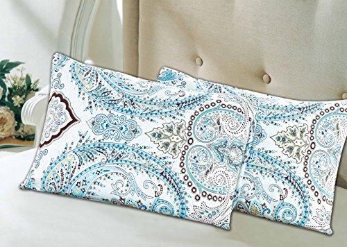 Paisley Standard Pillowcase (Tache 2 Piece Cotton Frozen Forest Blue Paisley Pillow Covers Pillowcase Set)