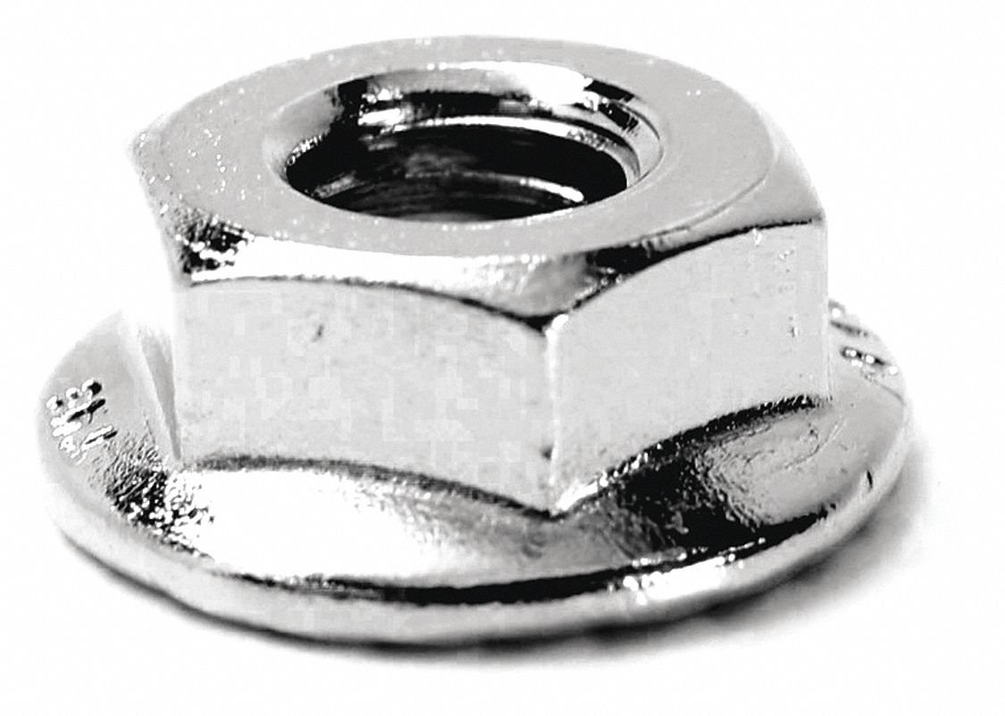 5/16''-18 Serrated Flange Nut, NL-19(SM) Finish, Stainless Steel 316, PK25