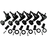 Musiclily 6-in-line Sealed Electric Guitar String Tuning Pegs Keys Machine Head Tuners Set Right Hand for Fender Stratocaster Tele Guitar, Black