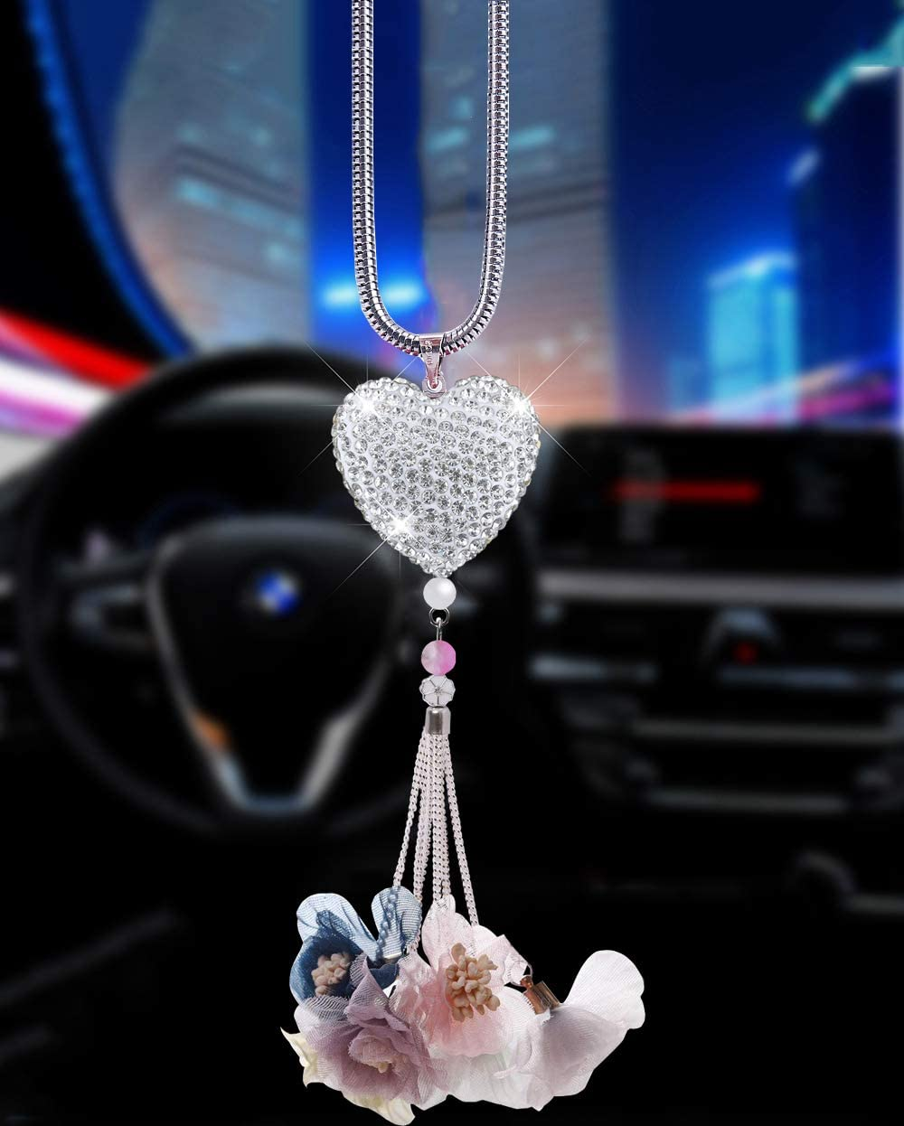 Alotex Heart Bling Car Accessories for Women,Bling Car Decoration Crystal Car Rear View Mirror Charms Decor,Lucky Hanging Interior Ornament Pendant Sun Catch Silver-Light Blue