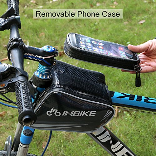 INBIKE Top Tube Bag, Waterproof Bicycle Front Frame Pannier Bag With Touch Screen Phone Case Up to 6.2 Inches