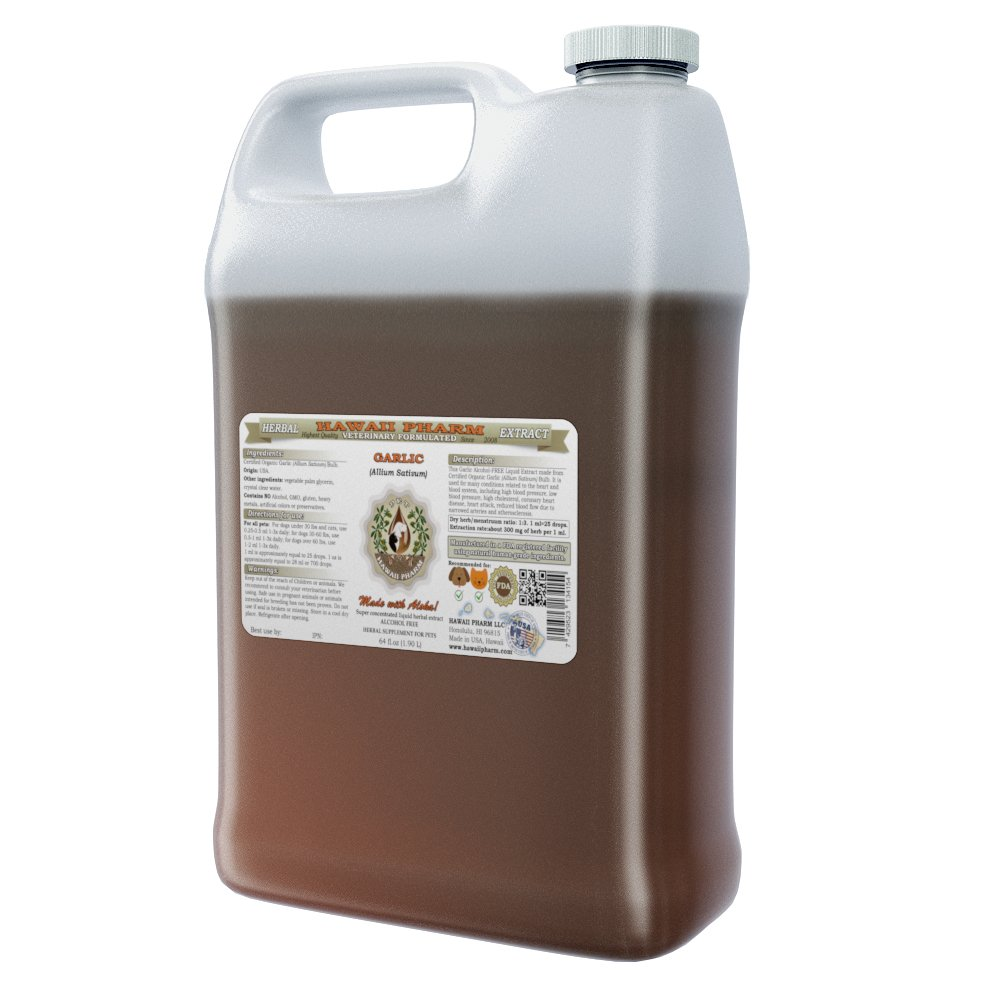 Garlic Organic (Allium Sativum) Bulb, VETERINARY Natural Alcohol-FREE Liquid Extract, Pet Herbal Supplement 64 oz