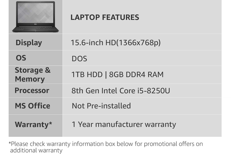 Dell Vostro 3578 Intel Core i5 8th Gen 15 6-inch Laptop (8GB/1TB  HDD/DOS/2GB Graphics/Black/2 5 kg)