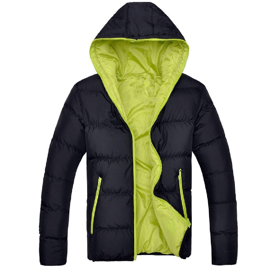 RSunshine Men Winter Quilted with Hood Thick Warm Oversized Parka Anorak