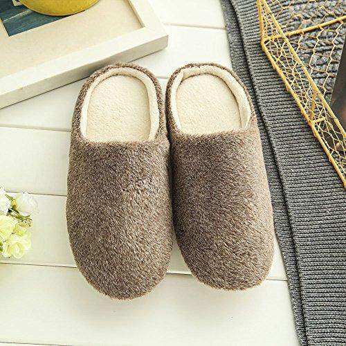 Caldo Autunno Peluche Pattini Pantofole Donna Marrone Home Unisex Inverno Casa per Scarpe SAGUARO® 41 Uomini Morbido Cotone Xq8TCx