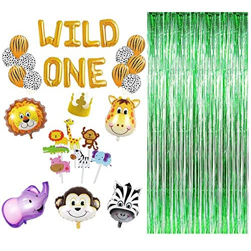 new maplelon wild one first birthday party decoration safari zoo