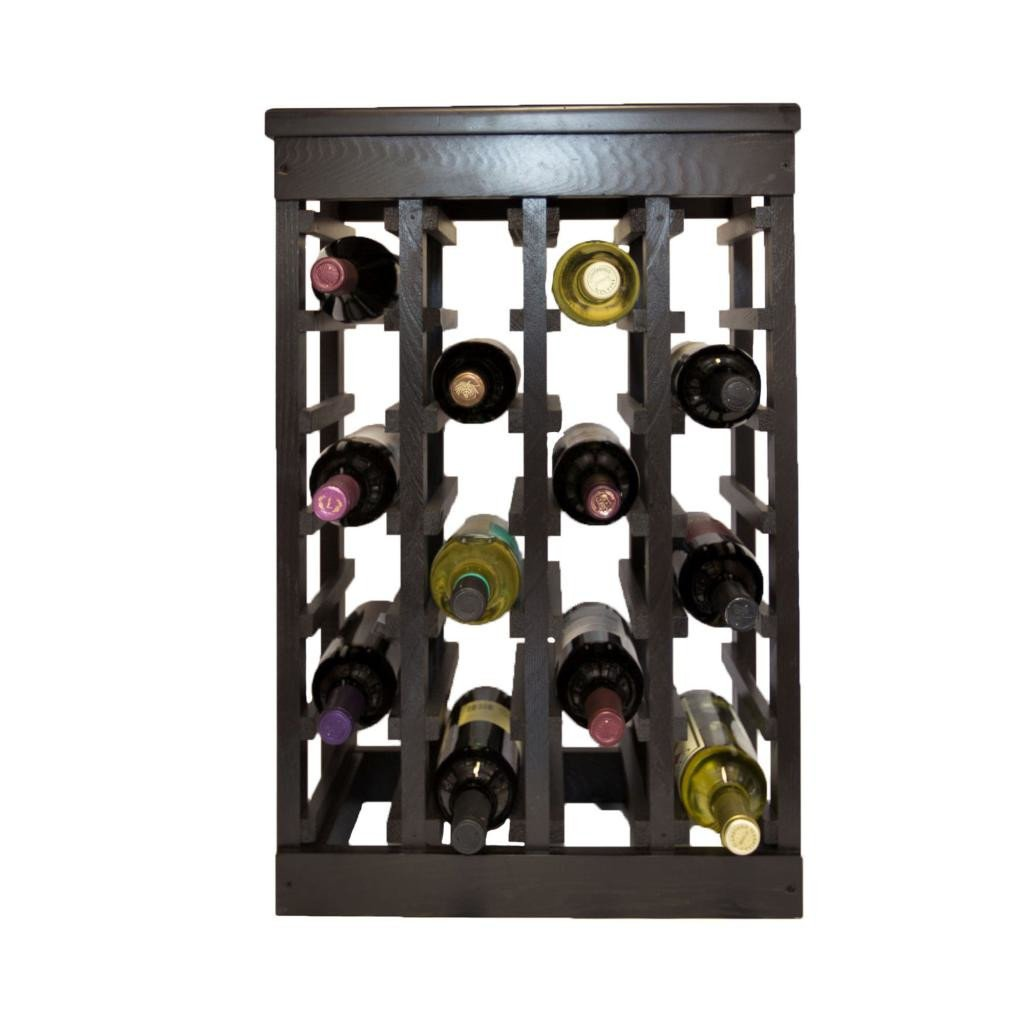 Classic Wood Design Freestanding 24 Bottle Heavy and Solid Floor Wine Rack Dark Espresso Finish by El Mar
