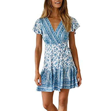6bbd5e08be72 Amazon.com  Corriee 2019 Gift Idea Womens Boho Dress Summer Short Sleeve  Floral Print V Neckline Mini Dress Sundress  Clothing