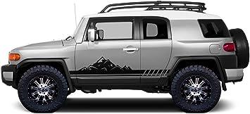 Matte Black Factory Crafts Gradient Side Stripe Graphics Kit 3M Vinyl Decal Wrap Compatible with Toyota FJ Cruiser 2007-2014