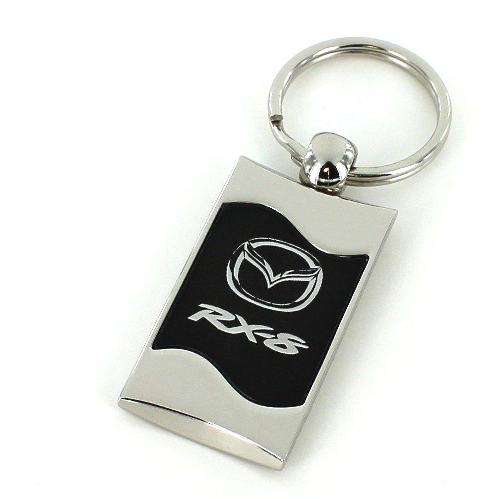 Mazda RX-8 Black Spun Brushed Metal Key Ring