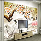 LHDLily 3D Wallpaper Mural Wall Sticker Thickening Custom Photo Wall Stickers Plum Tv Background Wall 300cmX200cm