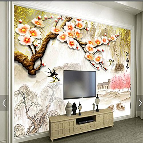 LHDLily 3D Wallpaper Mural Wall Sticker Thickening Custom Photo Wall Stickers Plum Tv Background Wall 300cmX200cm by LHDLily