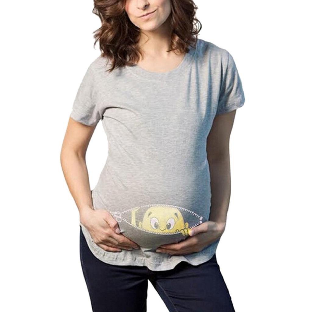 Camiseta de Las Mujeres Embarazadas Fotografia SHOBDW Blusa De Manga Corta De Verano Impresi/ón De Dibujos Animados Suelto Ropa De Dormir Blusa De Lactancia Materna Talla Grande M-XXL
