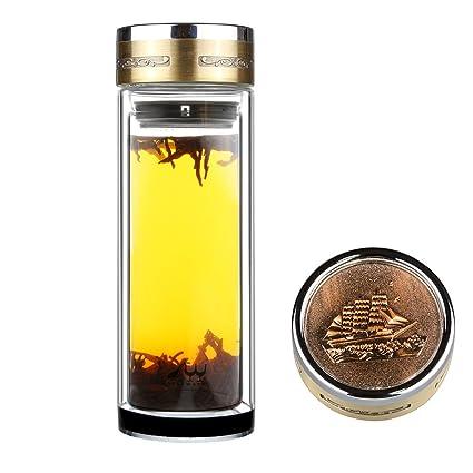 SELEWARE Deportes Botella de Cristal de Vidrio con Infusor de Frutas,con Filtro Colador para Té, con Funda, Jarra de Café, 0,56 L