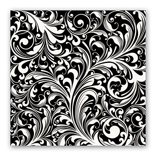 Michel Design Works Black Florentine Luncheon Napkins, 20-Pack, 3-Ply