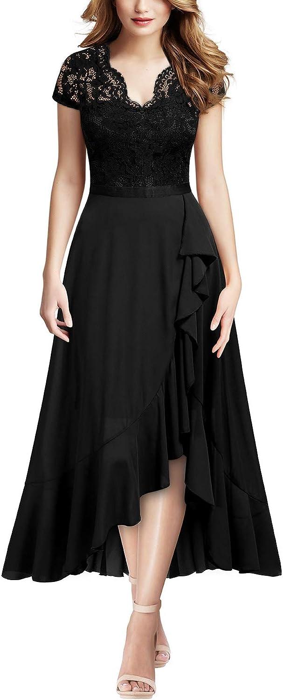MIUSOL Pizzo Chiffon Alto Basso Sera Vestito Lungo da Donna