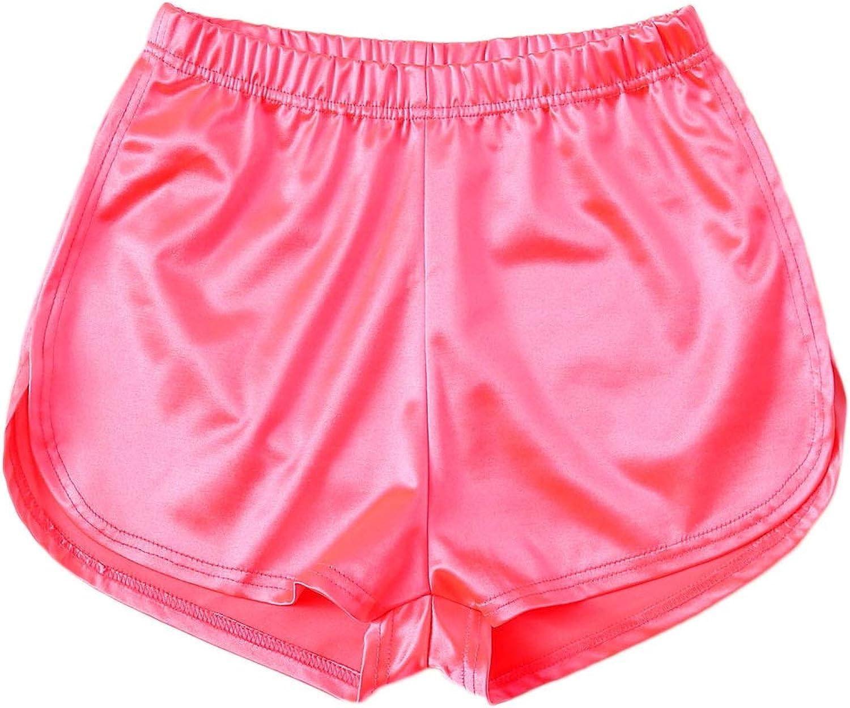 Verdusa Women/'s Elastic Waist Satin Dolphin Shorts