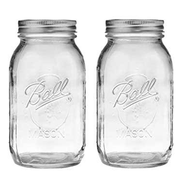 Ball Regular Mouth 32-Ounces Mason Jar with Lids and Bands (2-Units), Pack Of 2, Clear