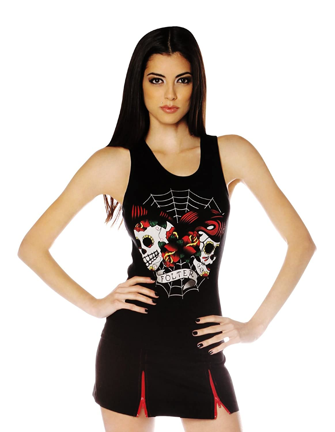 Folter FULL BACK CORSET BEATER WOMENS TANK (XL, Skull Web)