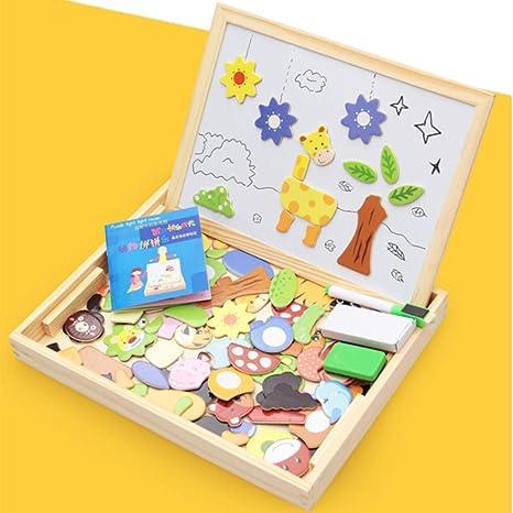 HxOqb Rompecabezas magnéticos para niños, Juego de Mesa de Dibujo magnético a Doble Cara Rompecabezas Educación Aprender Juguetes de Madera Regalos para niños (100 Piezas),styleB: Amazon.es: Deportes y aire libre