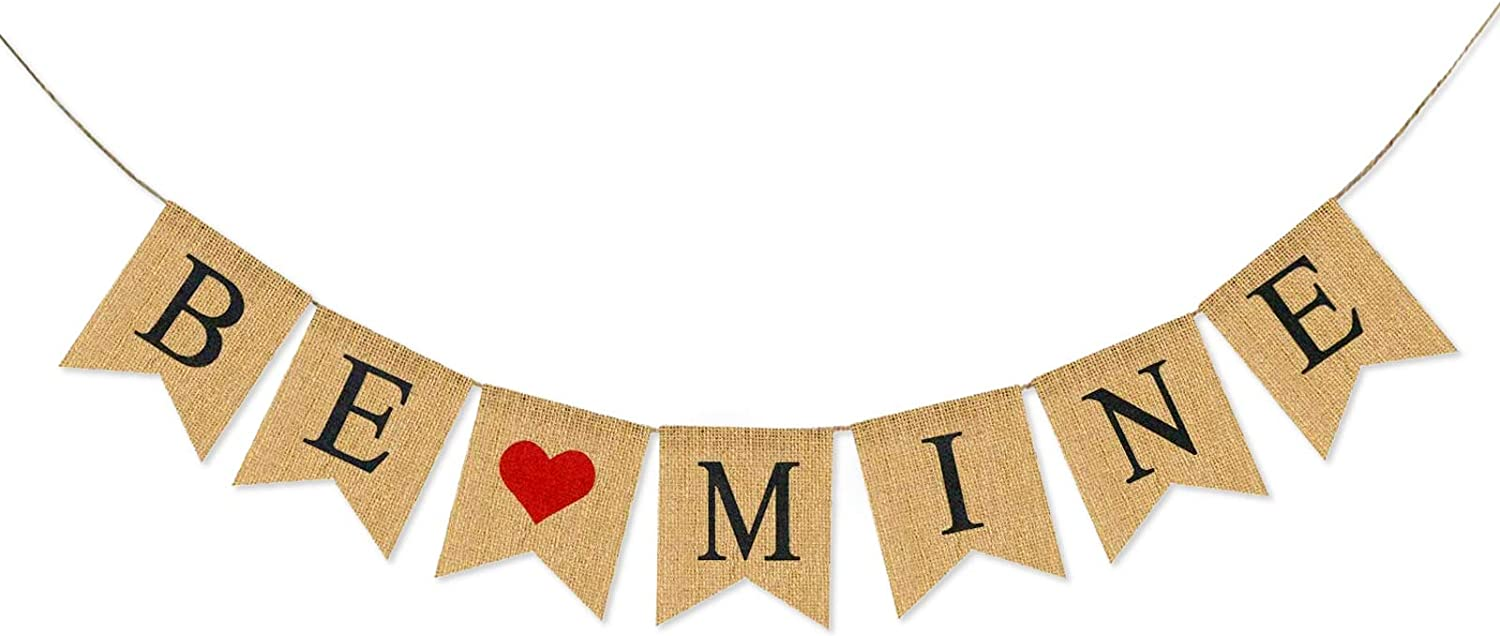 Valentine's Day Banner Be Mine Burlap Banner Heart Garland Party Supplies Decoration Ornaments for Wedding Anniversary Engagement Room Decor Photo Props