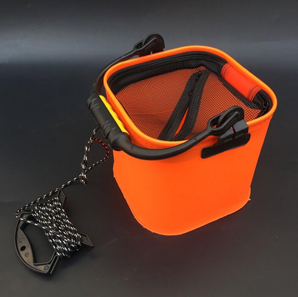 Ulable Cubo de Pesca, Plegable, Grueso, con Forma de Barril de Pescado Vivo, Accesorios para pecera, Color Naranja: Amazon.es: Deportes y aire libre