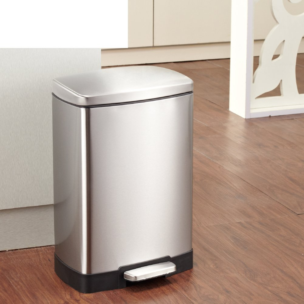stainless steel dustbin pedal mute trash home kitchen garbage creative fashion trash and desk trash-A