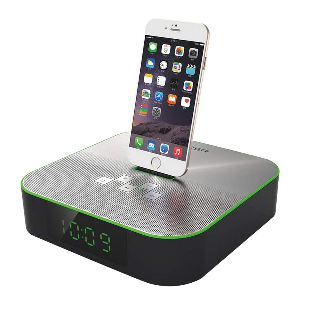 MYY Bedside Bluetooth Alarm FM Clock Radio Charging Lightning Dock for iPhone 7/7Plus 6/6Plus 5/SE Charger,Green