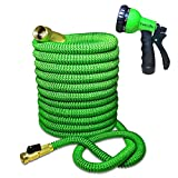 TheFitLife Flexible & Expandable Garden Hose - 25/50/75/100 Ft With Strongest Triple Core Latex & Solid Brass Fittings Free Spray Nozzle 3/4 USA Standard Kink Free Easy Storage Water Hose (100 FT)