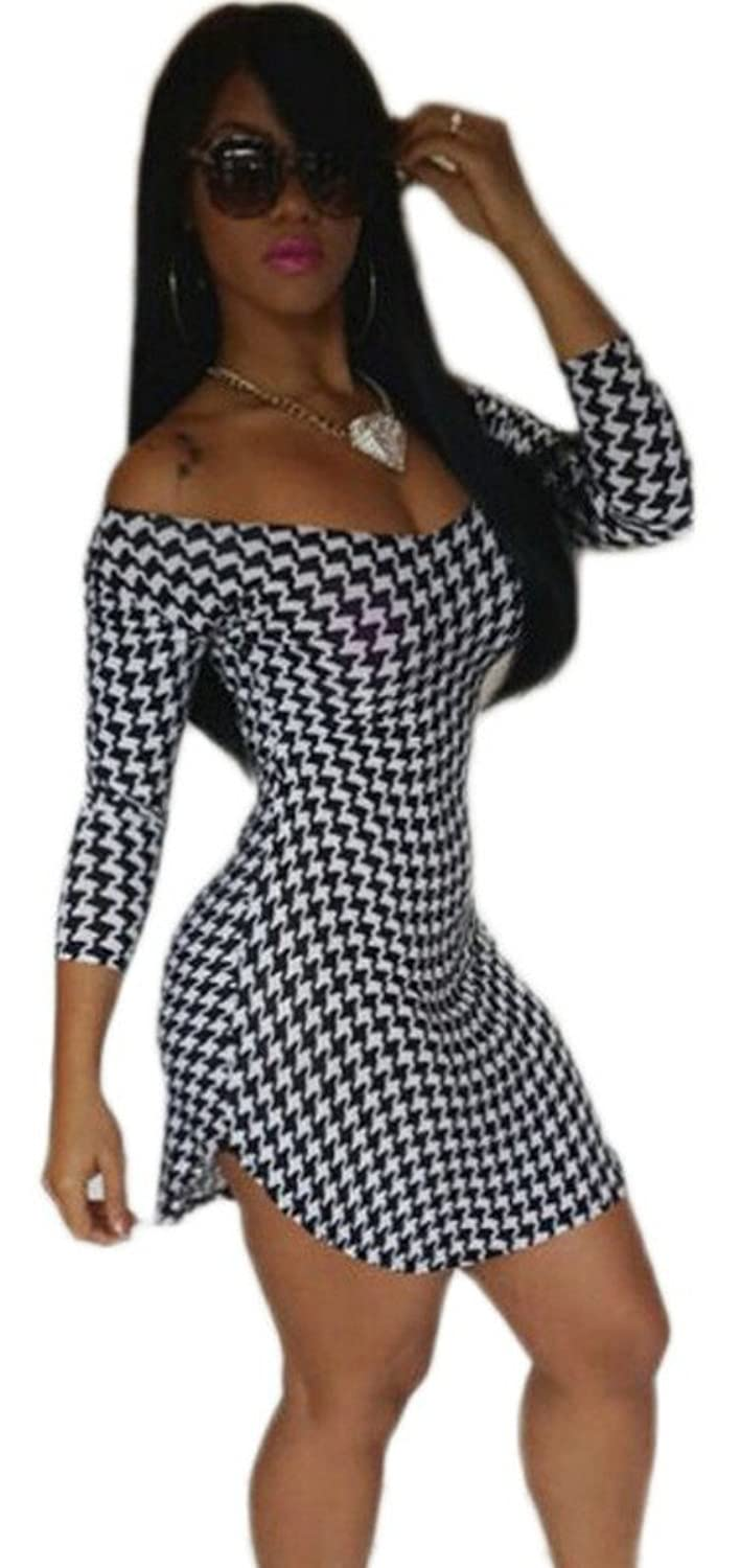Sexy Houndstooth Check Off The Shoulder Irregular Hem Bodycon Mini Short Dress