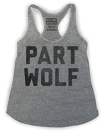 b74b5327 Buy Me Brunch Women's Part Wolf Tank at Amazon Women's Clothing store: