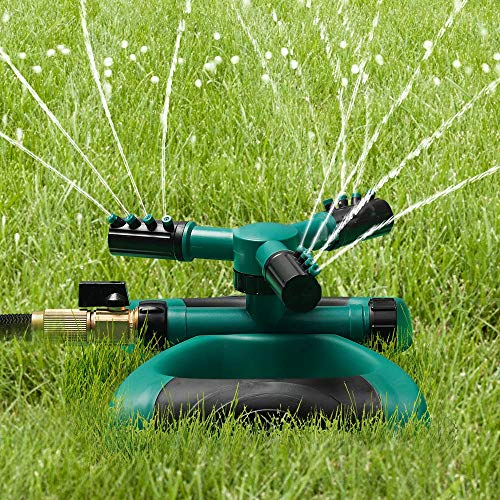 BoTaiDaHong Garden Sprinkler Durable 3 Arm Sprayer Adjustable Garden Water Sprinklers Lawn Irrigation System Automatic 360 Rotating