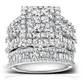 Diamond Engagement Ring and Wedding Band Set 2 3/5 carats (ctw) in 14K White Gold