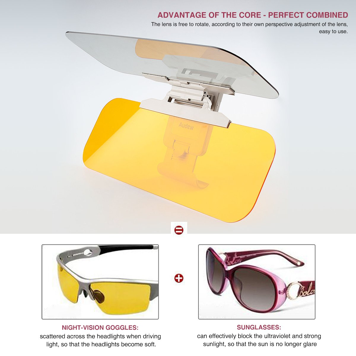 Audew Auto Sun Protection//Day and Night Driving Lens Hood