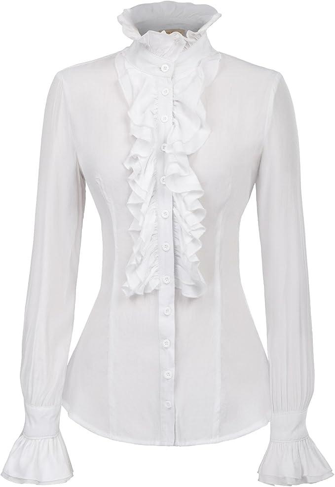 Kate Kasin Chicas Vintage Blusa Ruffle Rayon Camisa Negro S ...
