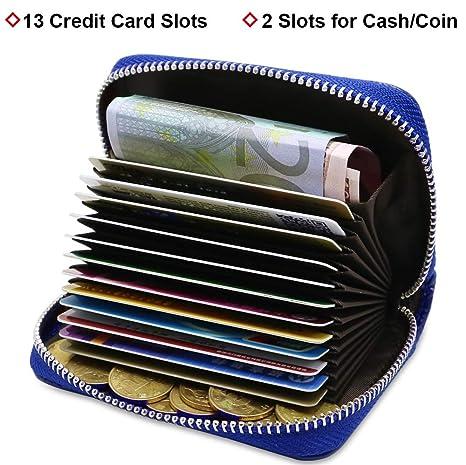 ... Hombre Mujer RFID Titular de la Tarjeta de Crédito de Cuero con 13 Ranuras para Tarjetas y 2 Ranuras de Moneda Carteras Monederos con Cremallera (Azul): ...