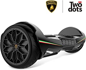 LAMBORGHINI TwoDots Hoverboard 6.5 inches Hover Board with App Bluetooth LED Lights Suitable All Terrain Two-Wheel Balancing Scooter for Kids and Adult by UL2272 Certified Black