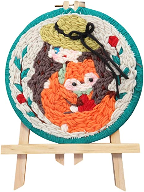 Punch Needle Starter Kit A DIY Crafts Knitting Embroidery Kit Punch Needle Starter Kit Wool Embroidery Handcraft Latch Hook Kits for Kids Girls