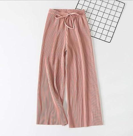 12974b8eb6 OJJFJ Pantalones De Pierna Ancha Pantalones Anchos De Gasa Plisada Cintura Pantalones  Sueltos Pantalones Finos hasta