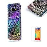 For Samsung Galaxy A5 (2017 Model) Case [with Free Screen Protector].Funyye Luxurious Ultra Thin Soft Silicone TPU With Electroplating Plated Frame Crystal Protective Soft Back Case for Samsung Galaxy A5 (2017 Model)-Mandala