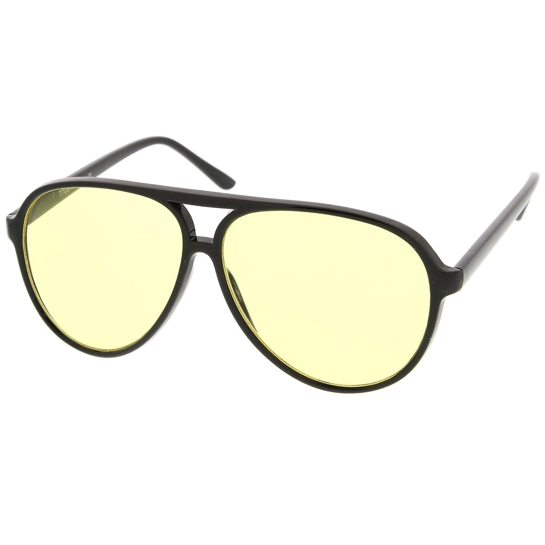 zeroUV - Retro Large Plastic Aviator Sunglasses with Blue Blocking Driving Lens Ditka Hangover Alan Burt Macklin FBI frame&optic 8453