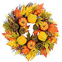 """Admired By Nature GFW7008-OR/YW/GN 24"""" Faux Pumpkins Pinecone Maple Leaf Berry Wreath"""