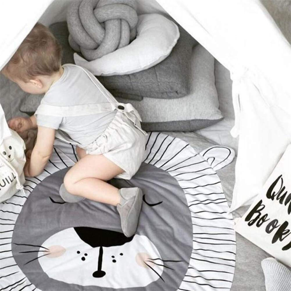 Monkey HOUTBY Cute Cartoon Round Carpet Rug Baby Loves Playmat Kid photograph Background Nursery Kids Room Decoration