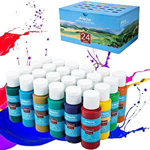 Acrylic Paint Acrylic Paint Set for Art, 24 Color 2 Oz Basic Acrylic Paint Supplies for Wood, Fabric, Crafts, Canvas, Leather&Stone