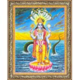 Avercart Lord Vishnu / Shree Vishnu / God Vishnu / Narayana Hari Poster 21x28 cm with Photo Frame (8.5x11 inch framed)