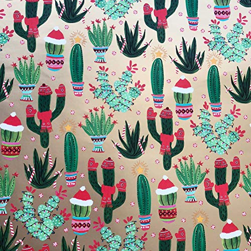 Christmas Cactus – Holiday Gift Wrap Paper – 30 Inch x 10 Foot – Folded Flat Sheet – Premium Quality – Made in Italy